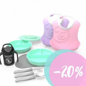 Biberones, vasos, chupetes y mordedores color pastel