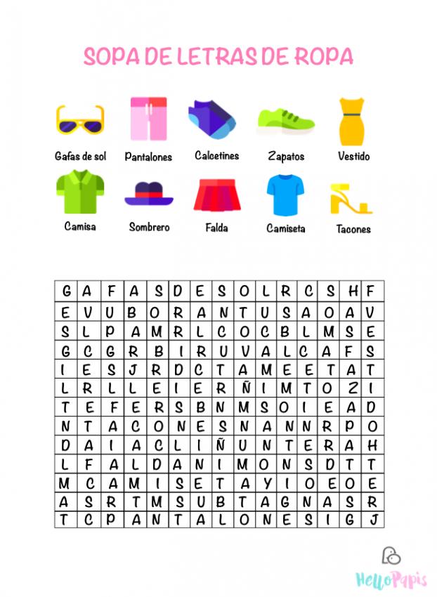 Sopa de letras ropa
